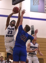 Spanish Springs' Michael Jefferson (23) shoots while taking on Lincoln during their basketball game in Reno on Jan. 4.