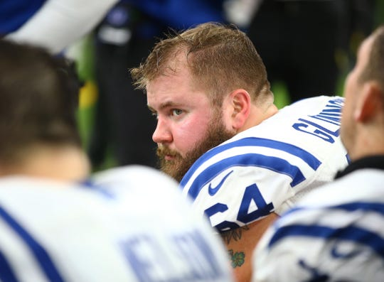 Colts guard Mark Glowinski (64) has played a key role in the performance of the Indianapolis offensive line.