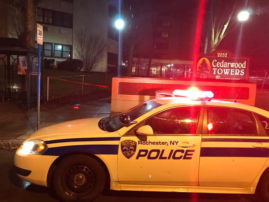 One person is dead after a shooting outside of the Cedarwood Towers on East Main Street in Rochester late Tuesday.