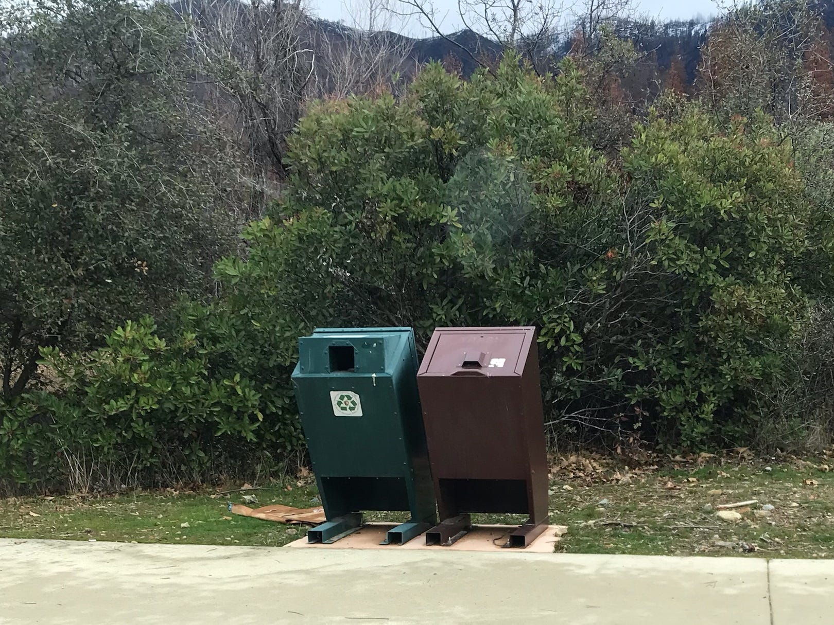 The trash bins at Whiskey Creek on Monday, Jan. 7, 2019.