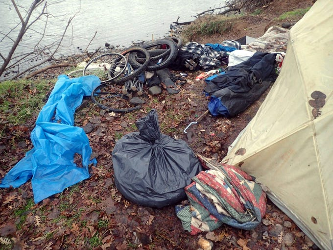 The Redding Police Department's Community Clean-Up Team organized a trash collection detail next to the Sacramento River on Jan. 8, 2019.