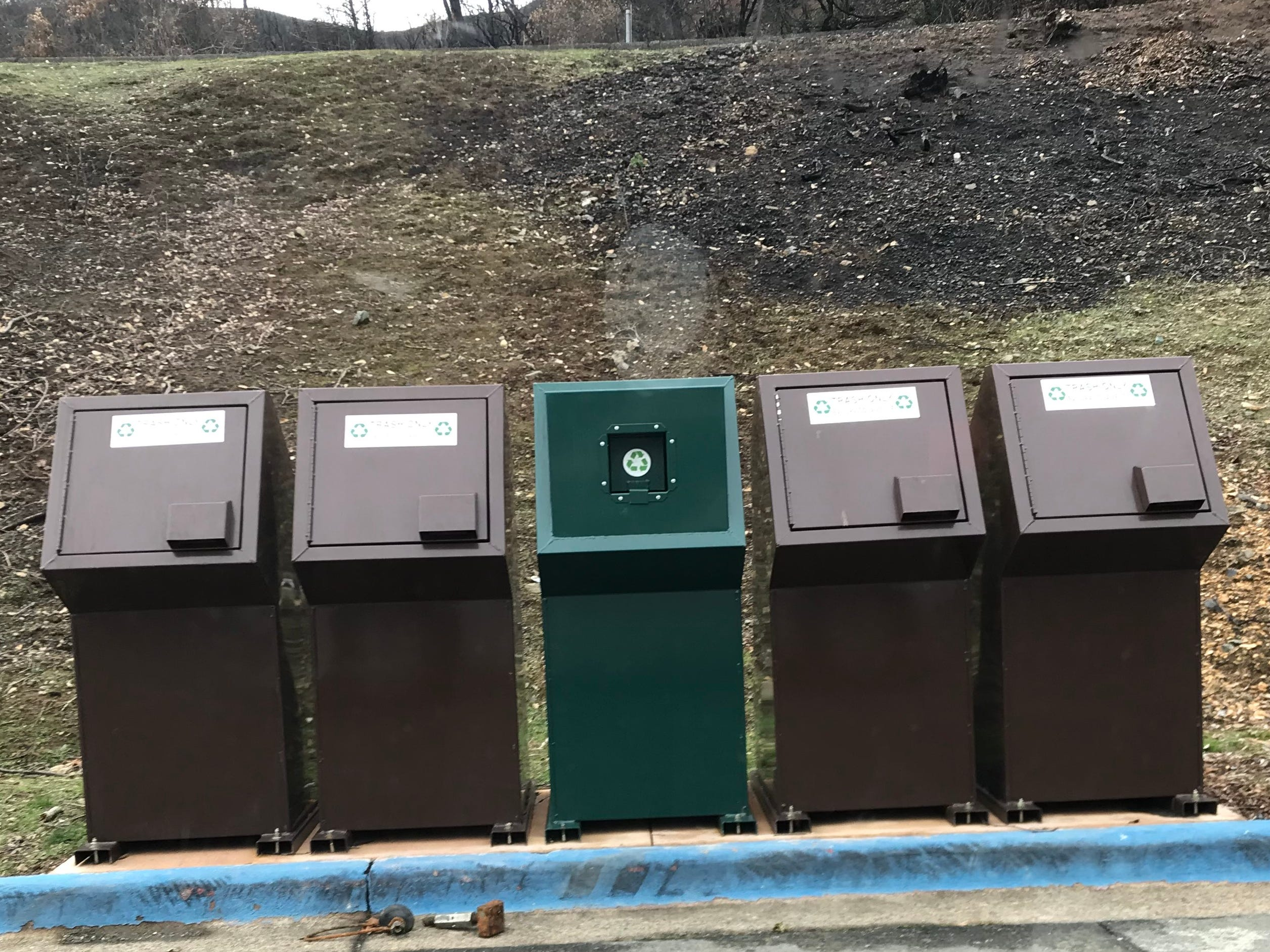 The trash bins at Whiskey Creek boat launch on Monday, Jan.7, 2019.