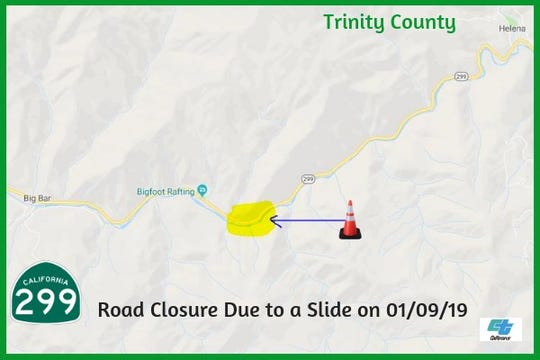 A closure on Highway 299 remains in effect Wednesday morning between Helena and Big Bar in Trinity County. Caltrans says a boulder/mudslide has closed the road for the time being.