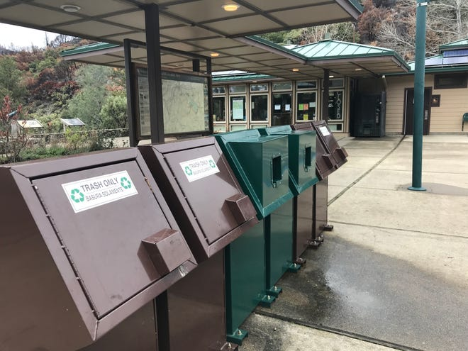 Trash containers at the Whiskeytown National Recreation Area Visitor's Center were not overflowing Monday. Other National Park Service facilities around the country, however, have had problems with trash, vandalism and human waste.