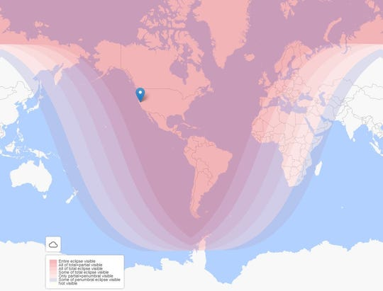 This will be the only total lunar eclipse of the year and it will be visible in the skies of all of North America and South America, as well as part of Europe and Africa.