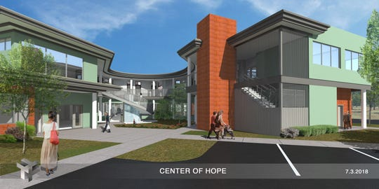 In this 2018 art rendering, Hill Country's proposed Center of Hope courtyard is seen.