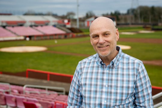 Mitche Graf, the new president of business operations for the Salem-Keizer Volcanoes of the Class A Northwest League, in Keizer on Tuesday, Jan. 8, 2019. Graf's goal will be to improve attendance, which has declined in recent years.
