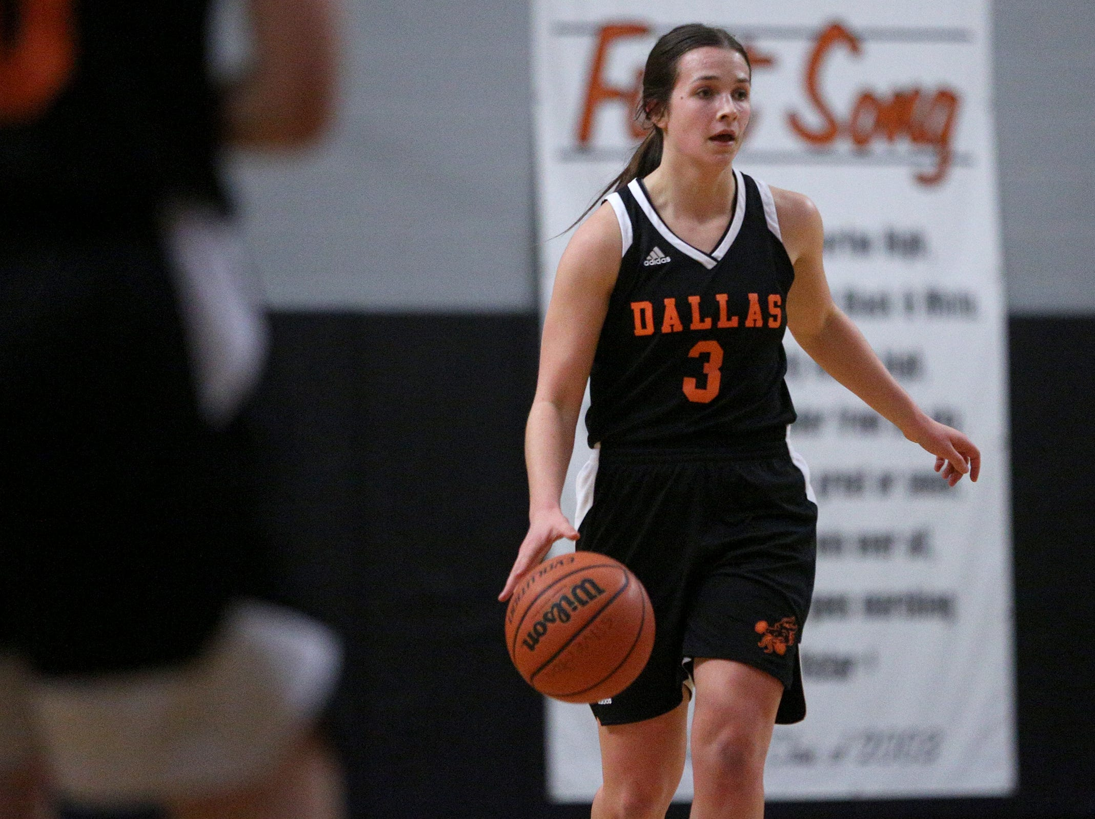 Dallas' Emma Classen (3) looks to make a pass during the Dallas High School vs. Silverton High School girls basketball game in Silverton on Tuesday, Dec. 8, 2019.