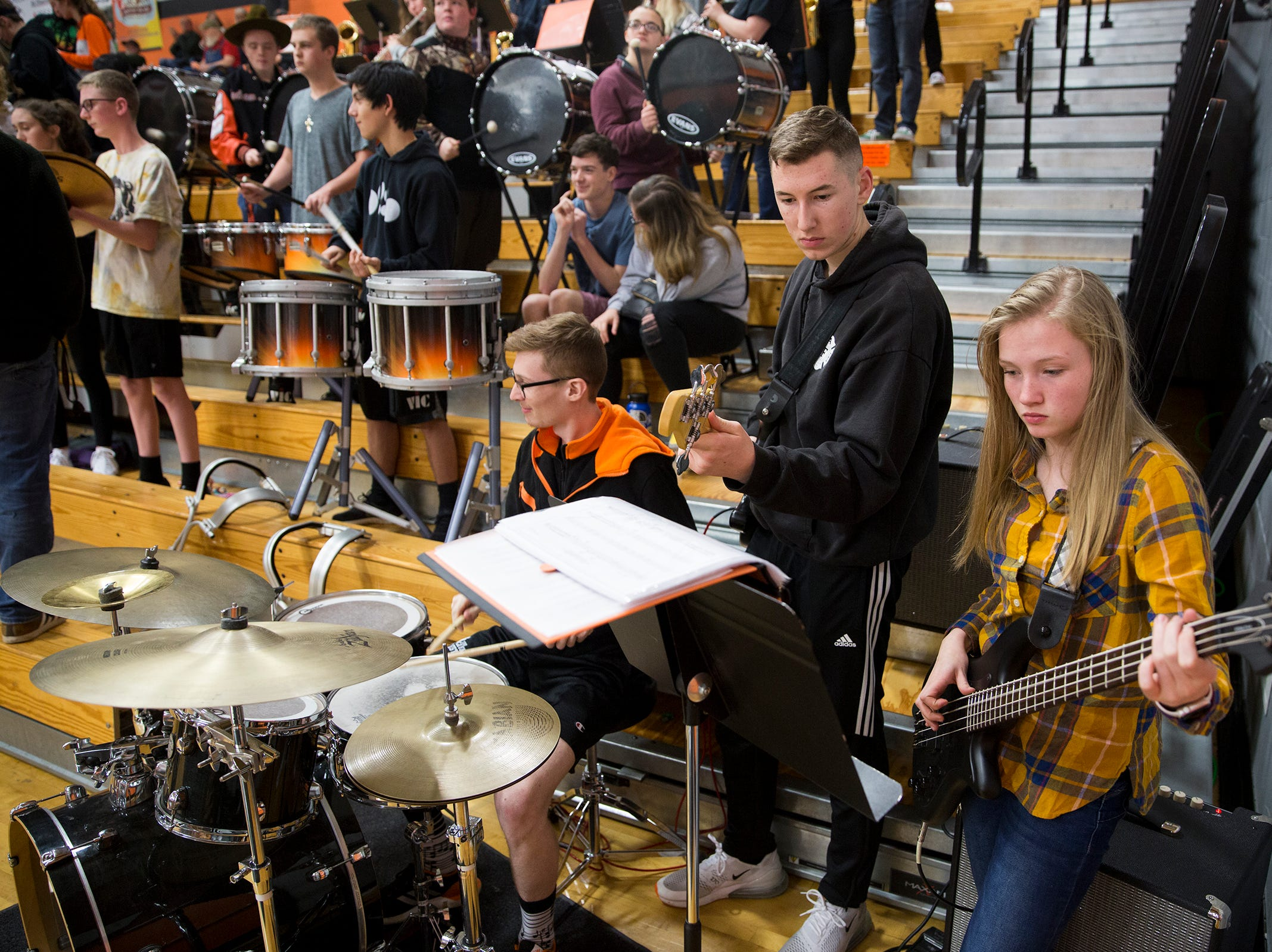 The Silverton High School band during the Dallas High School vs. Silverton High School girls basketball game in Silverton on Tuesday, Dec. 8, 2019.