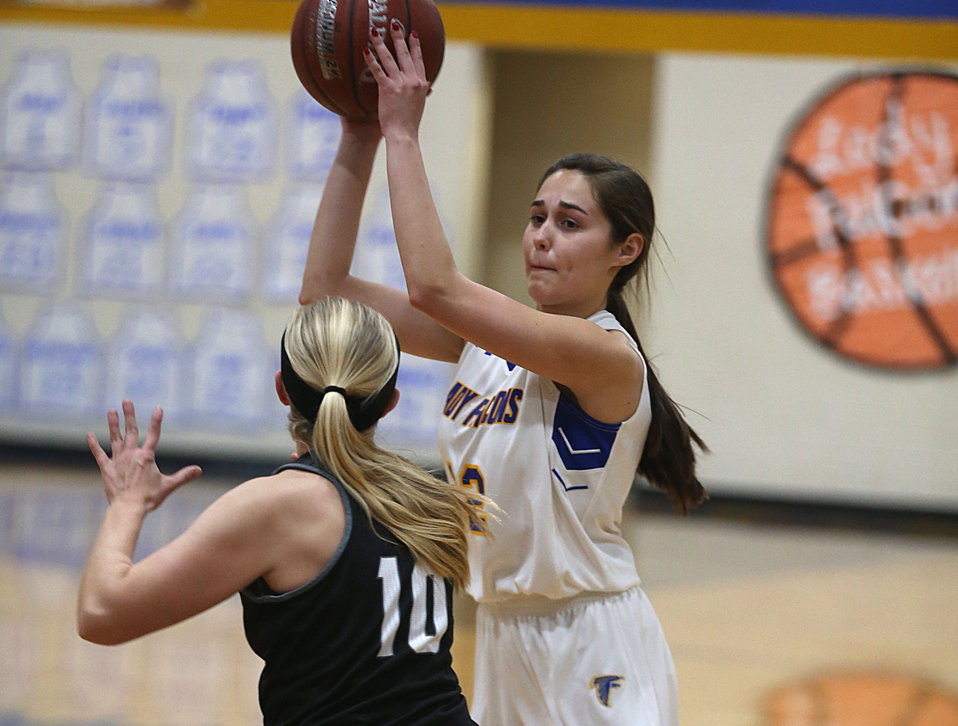 Veribest's A. Martinez (#12) is blocked by Water Valley's Brittany Sutton (#10) Tuesday, Jan. 8, 2019 during their game in Veribest.