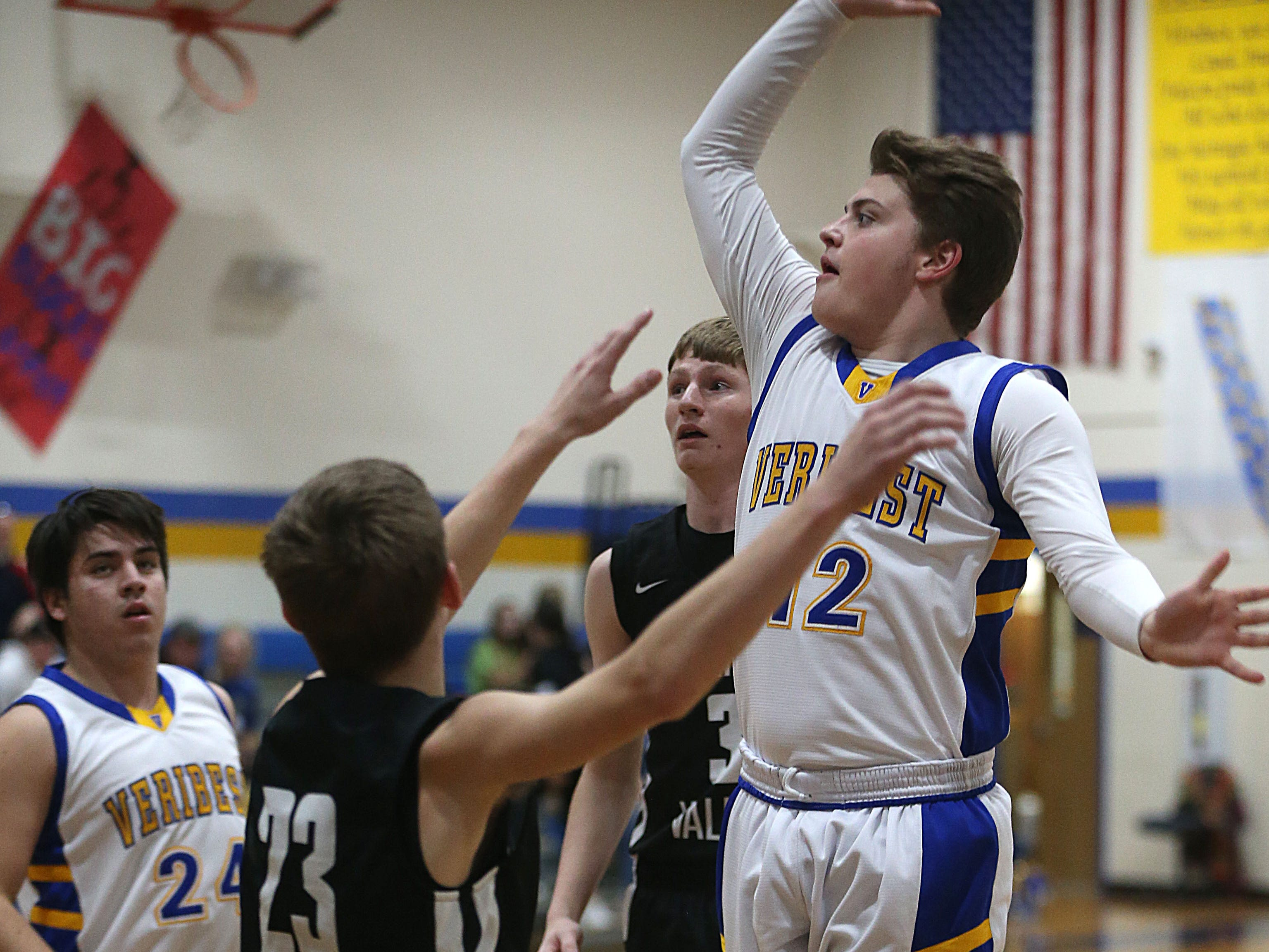 Veribest's Parker Compton (#12) makes a basket Tuesday, Jan. 8, 2019 against Veribest.