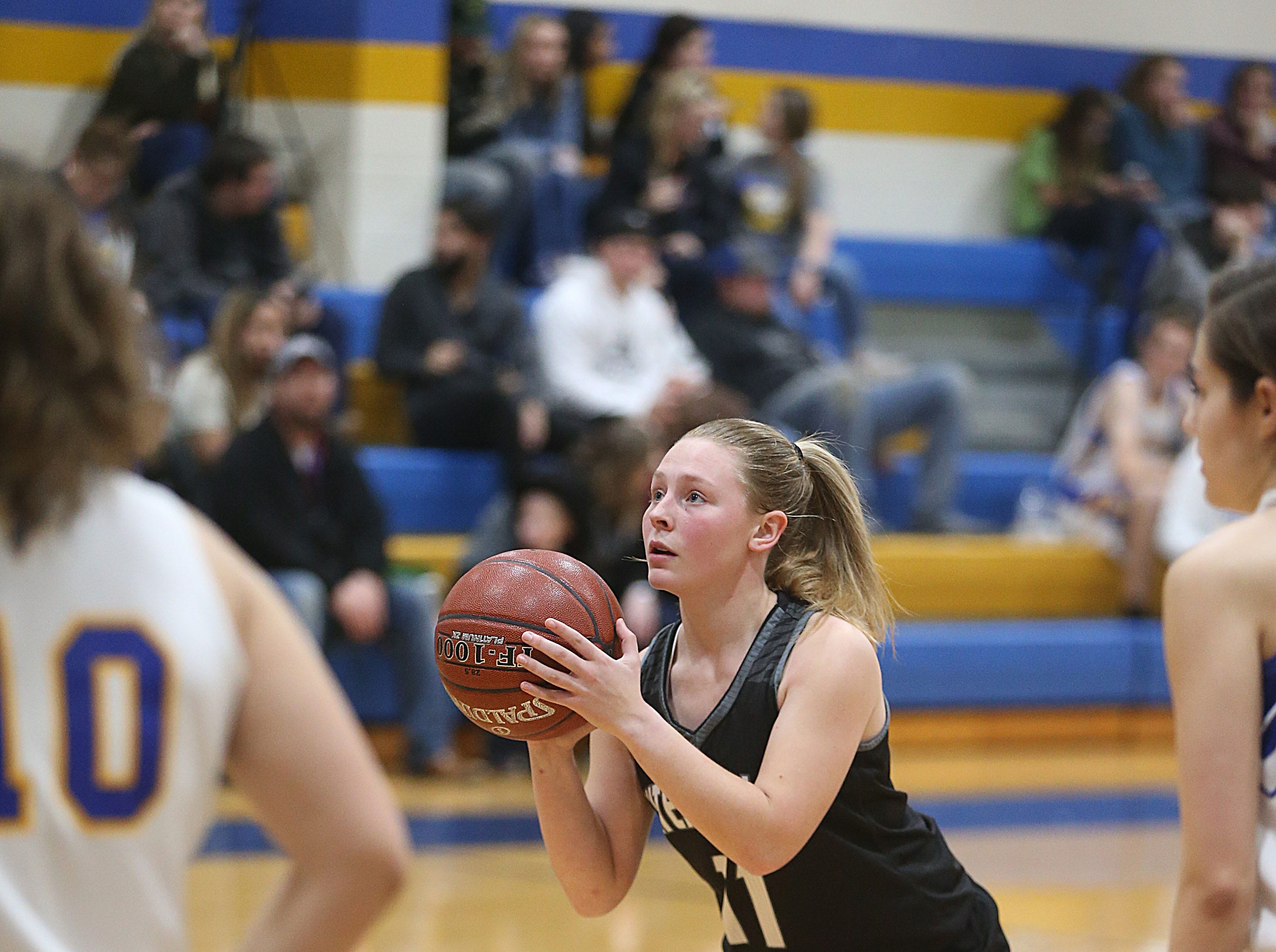 Water Valley's Shelby Kolhs (#11) prepares to shoot a free throw Tuesday, Jan. 8, 2019 during their game against Veribest.
