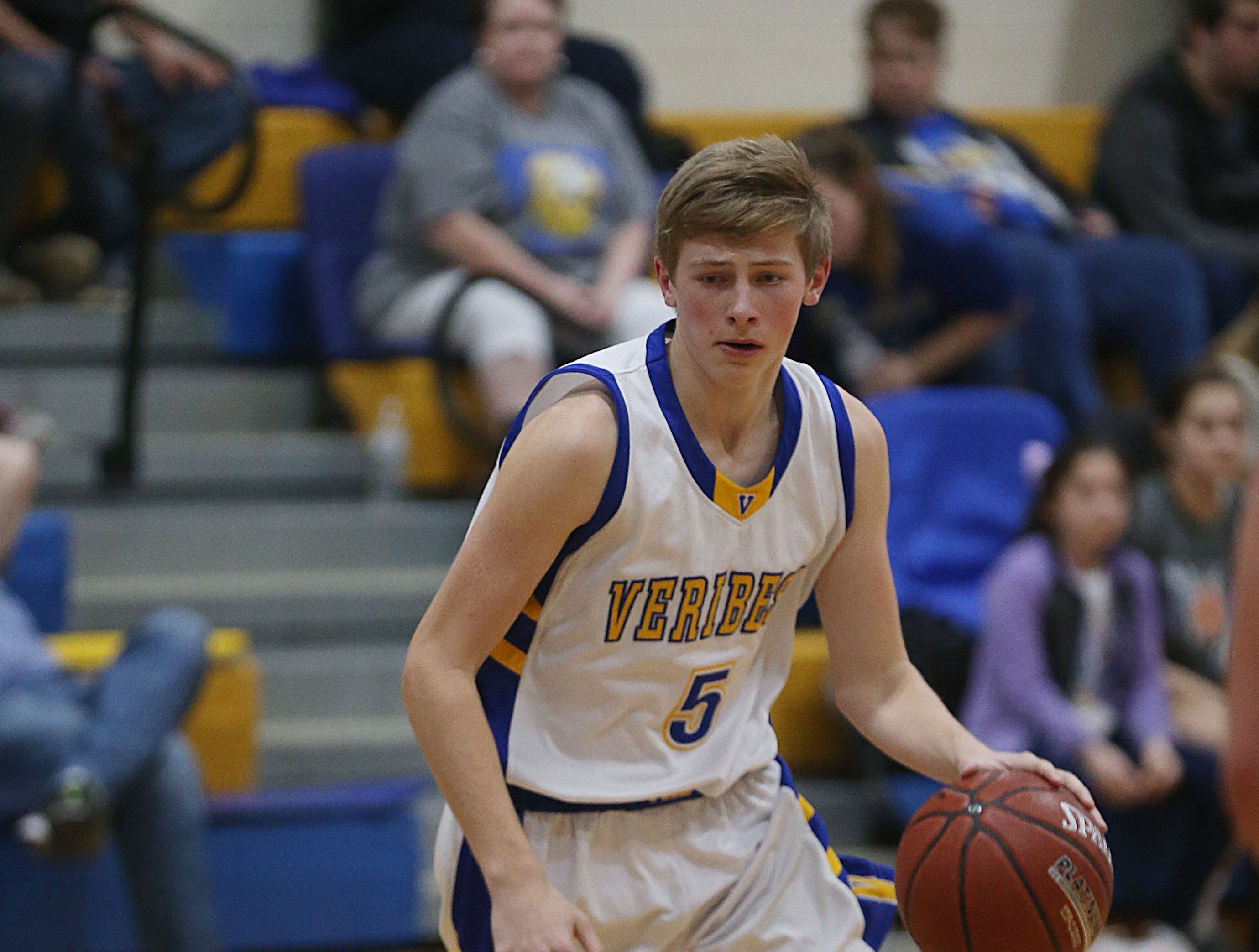 Veribest's Bo Dunn (#5) makes a move toward the basket Tuesday, Jan. 8, 2019 during the game against Water Valley in Veribest.