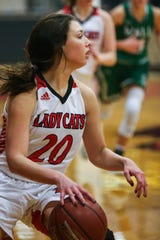 Ballinger's Kinlee Bowman dribbles against Wall Tuesday, Jan. 8, 2019, in Ballinger High School.