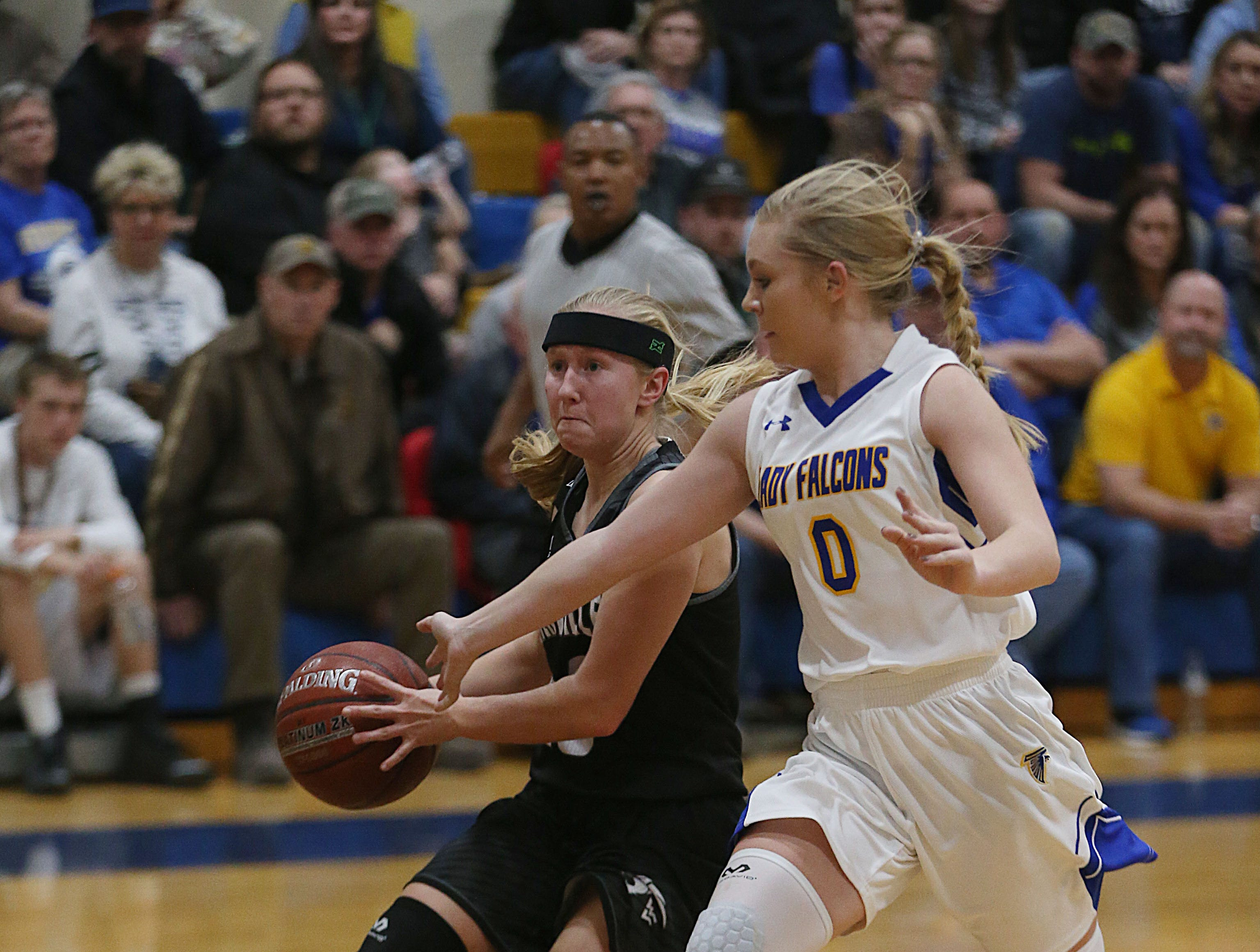 Veribest's K. Wheeless (#0) tries to take the ball from Water Valley's Brittany Sutton (#10) Tuesday, Jan. 8, 2019 during their game in Veribest.