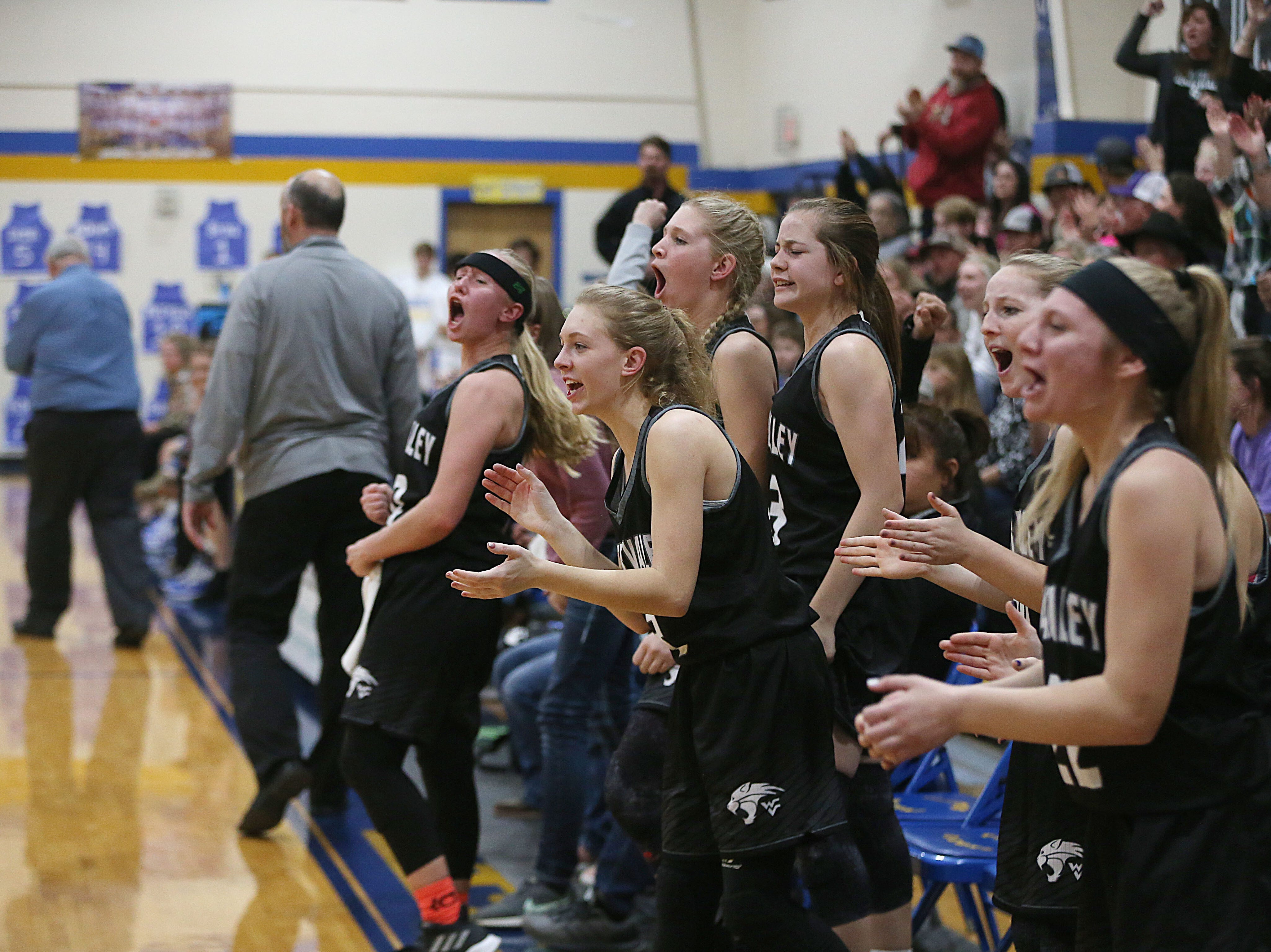 Water Valley players cheer on their teammates Tuesday, Jan. 8, 2019 during their game against Veribest.