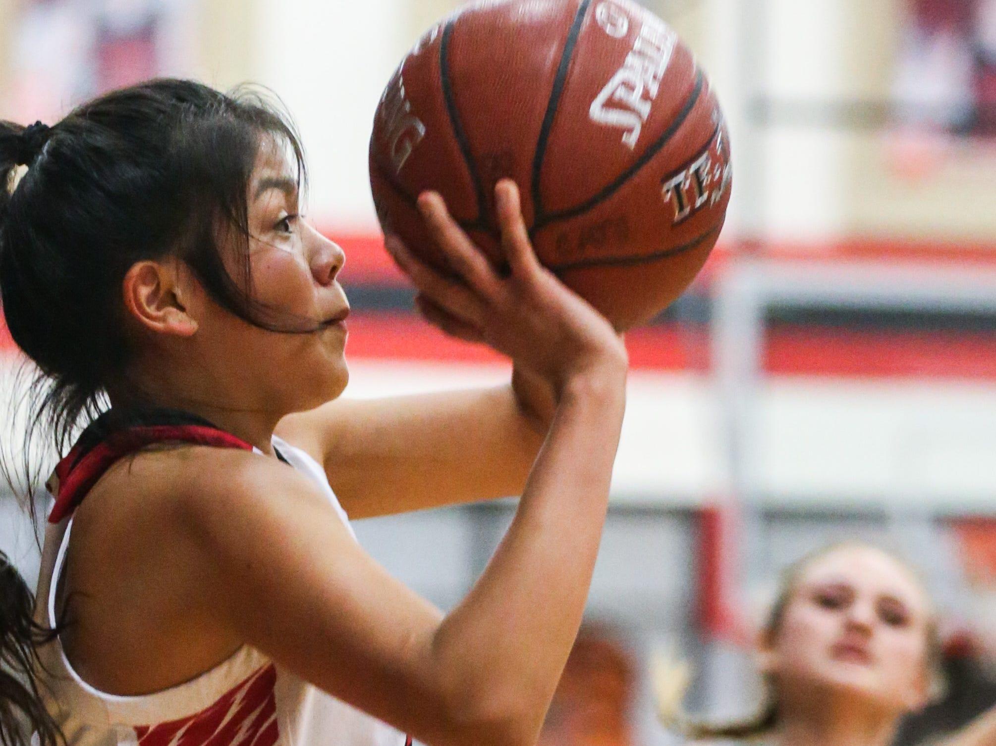 Ballinger's Rosemary Delgado shoots against Wall Tuesday, Jan. 8, 2019, in Ballinger High School.