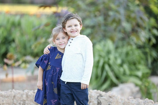 Aiden Snyder, 7, and his sister Ella, 4, pose for a photo two weeks before Aiden's cancer relapse. Aiden is in Fort Worth for cancer treatment after being diagnosed for the second time Oct. 31, 2018.