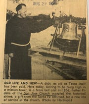 This image from 1954 spotlights the bell at St. joseph's Parish in San Angelo. The bell was  a gift from the AT&SF Railroad.