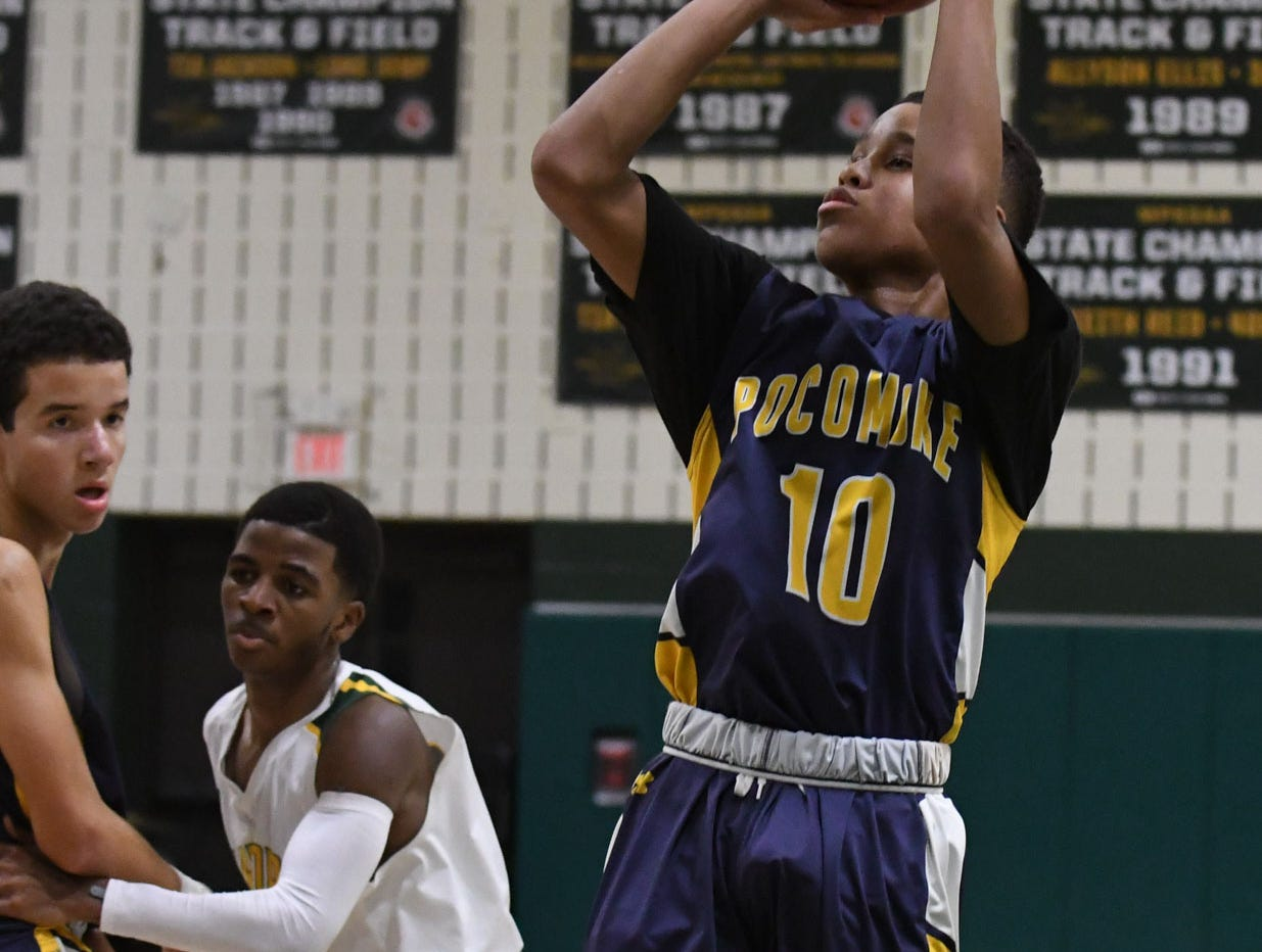 Pocomoke's Charles Finny III with a jumper against Mardela on Tuesday, Jan 9, 2019.