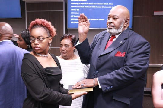 12 Caddo School Board members were sworn in Tuesday.