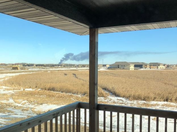 Smoke from the fire at Elmwood Golf Course was visible in Tea.