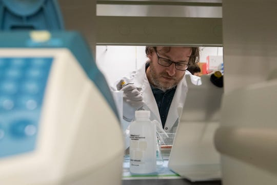 Michael Kareta works in his lab at the Sanford Center in Sioux Falls, S.D., Wednesday, Jan. 9, 2019.