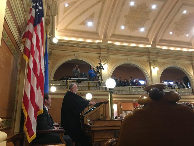 State Supreme Court David Gilbertson addresses the Legislature during his State of the Judiciary on Wednesday.