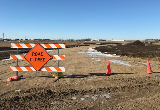 A sign cuts off access to a road in the Luverne Industrial Park where Tru Shrimp was planning to build.