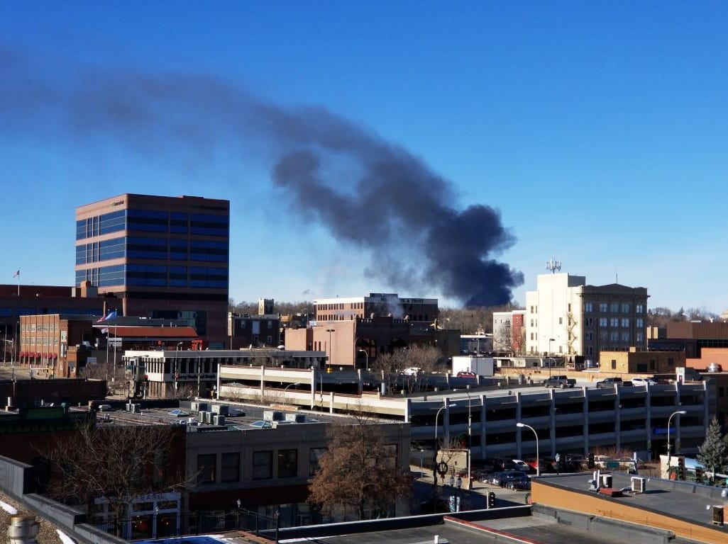 Smoke from the Elmwood Golf Course fire could be seen in downtown Sioux Falls.