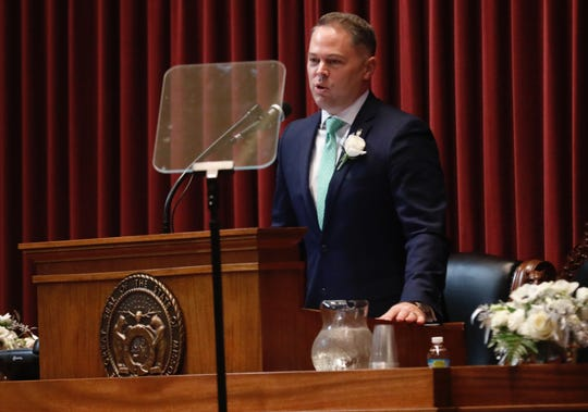 Elijah Haahr speaks after being sworn in as speaker of the Missouri House of Representatives.