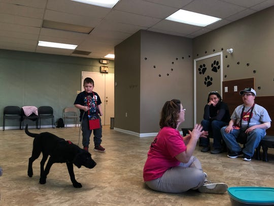 Noah Clarke, 6, walks his new service dog Asher around the God's Canine Angels training facility in Waynesboro on Jan. 5, 2019.