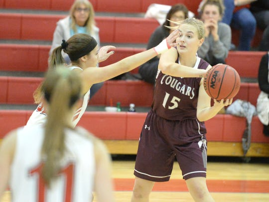 Stuarts Draft's Megan Fretwell looks for an open teammate Tuesday in a Shenandoah District girls basketball game against Riverheads.