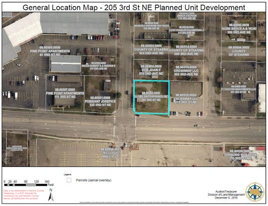 A map from a Waite Park Planning Commission meeting packet show the location of a proposed retail and residential development near Crossroads Center.
