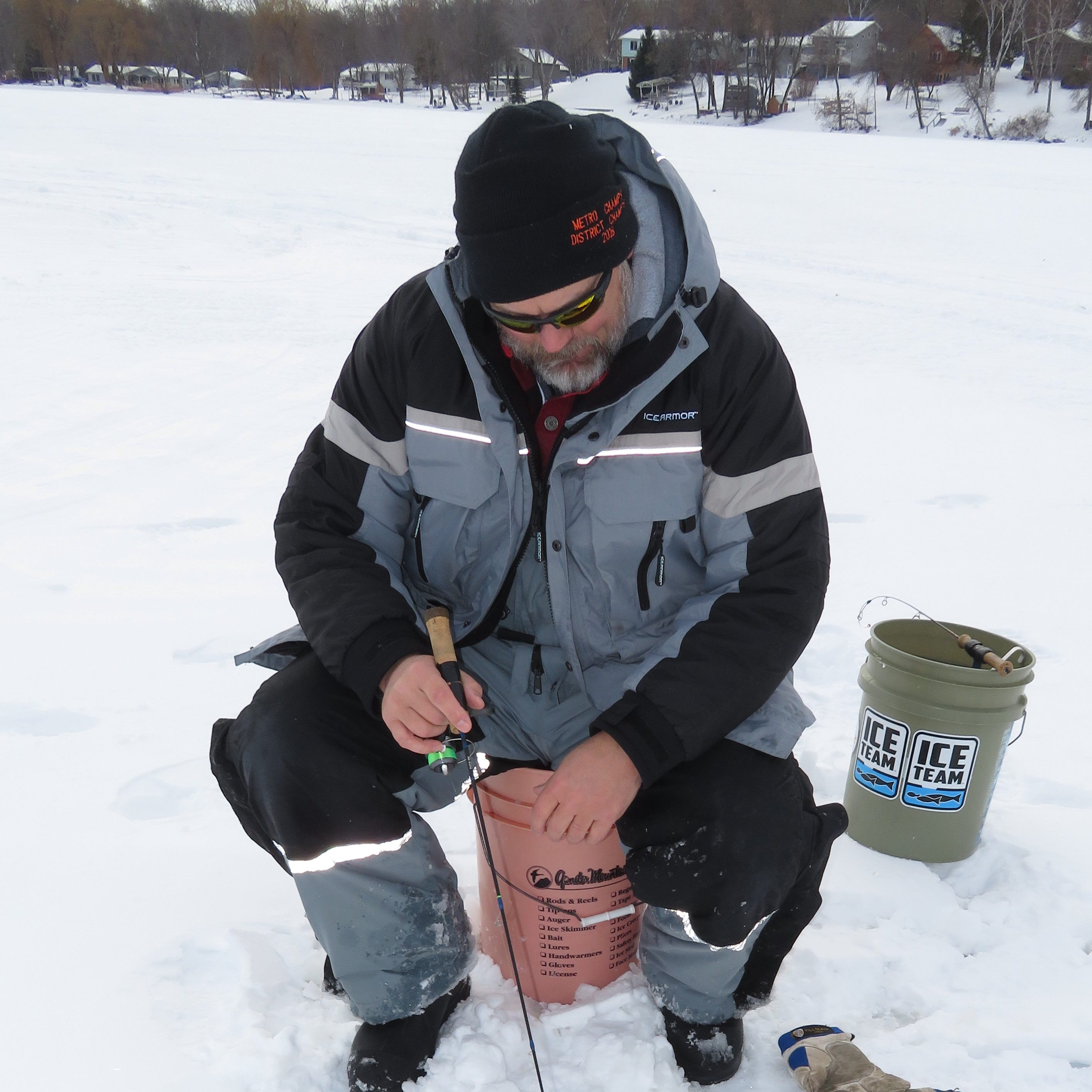 When chasing fish through ice, bucket sitting may be the best method