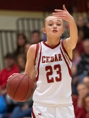 Cedar High School forward Mayci Torgerson, pictured here during a game against Pine View on Jan. 8, led the Lady Reds with 18 points Saturday as the team beat Ridgeline 53-40 to win its first-ever 4A state title.