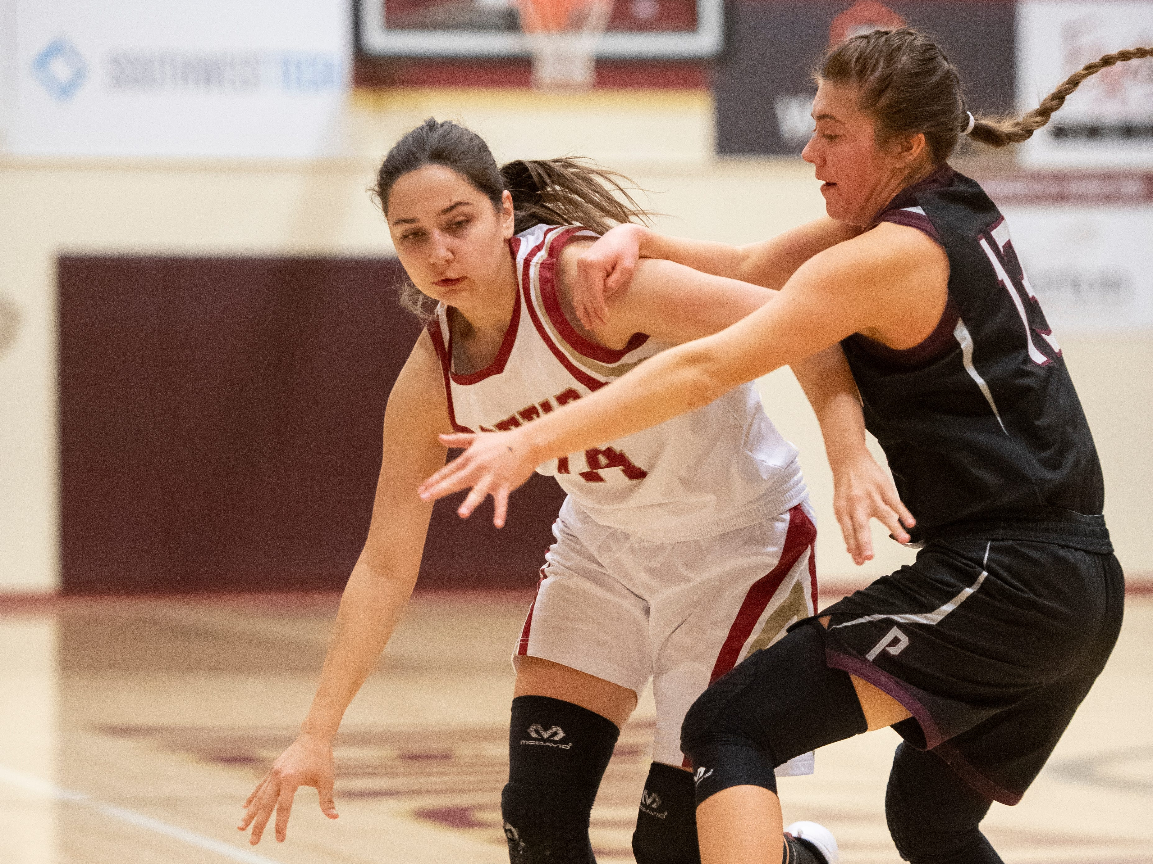 Cedar High School sophomore Kelsi Oldroyd (24) pushes past the Pine View defense at CHS Tuesday, January 8, 2019. Cedar remains undefeated with a 63-40 win over the Panthers.