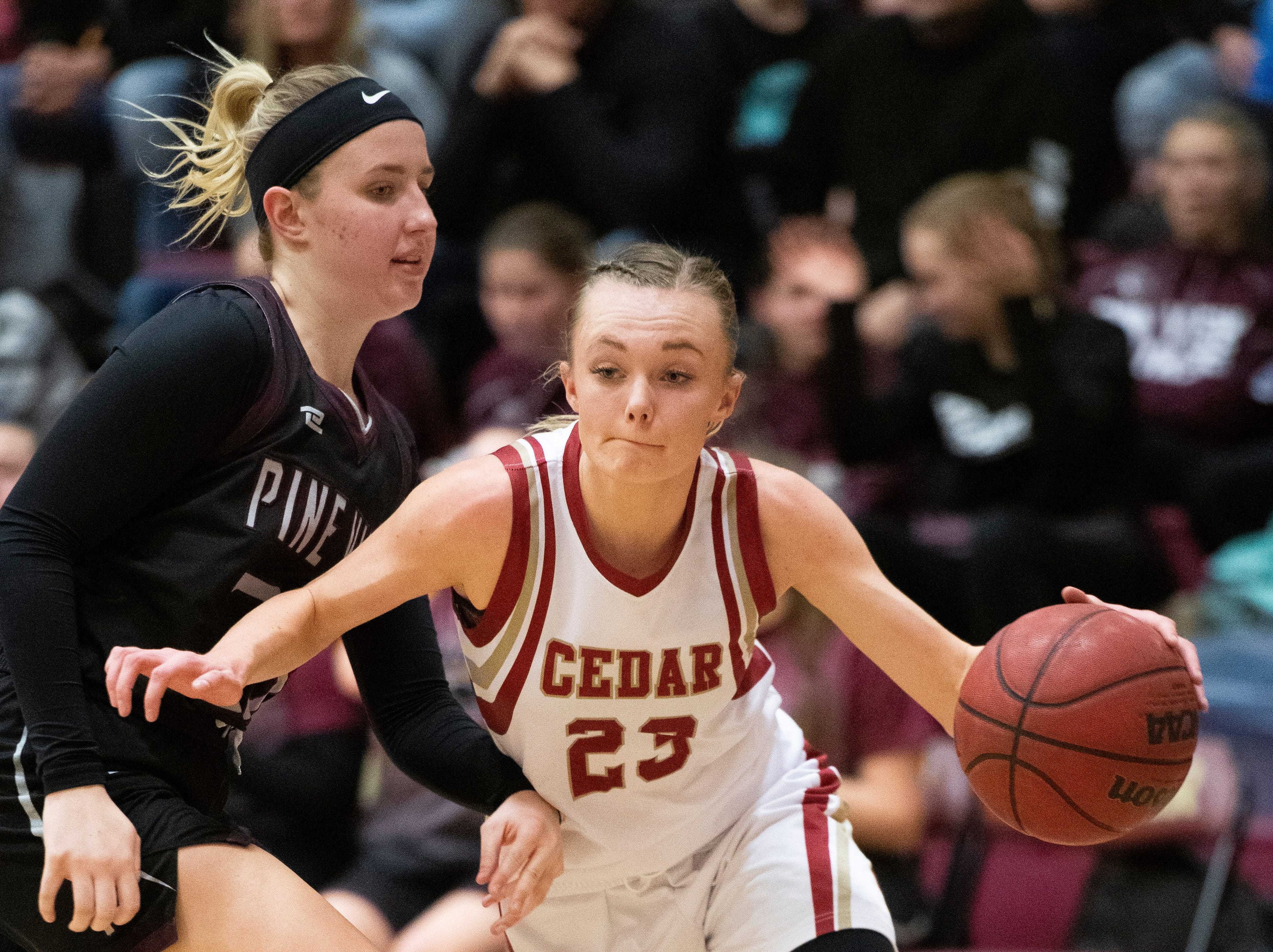 Cedar High School junior Mayci Torgerson (23) moves the ball against Pine View at CHS Tuesday, January 8, 2019. Cedar remains undefeated with a 63-40 win over the Panthers.