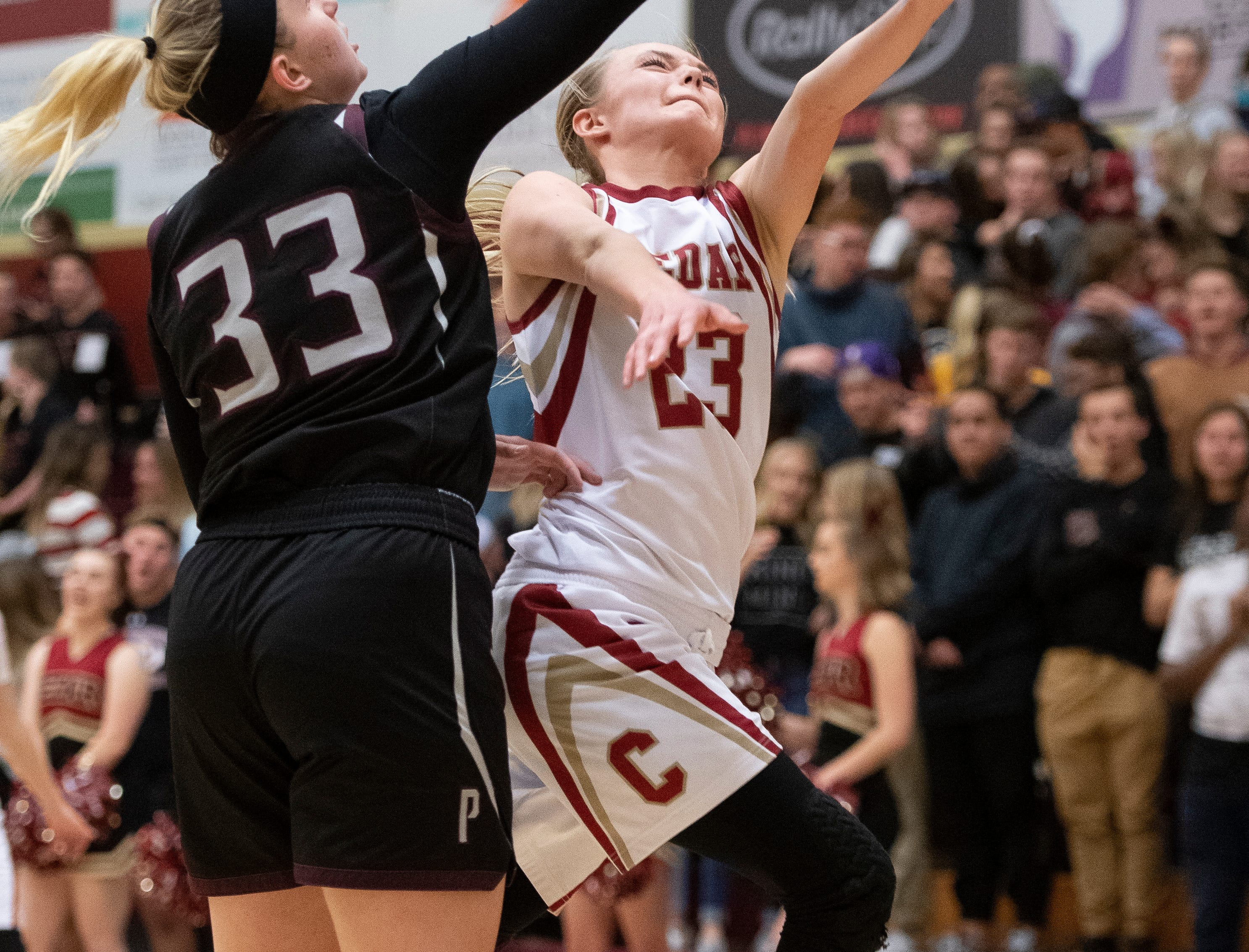 Cedar High School junior Mayci Torgerson's shot is blocked by Pine View's Bailey Hofheins at CHS Tuesday, January 8, 2019. Cedar remains undefeated with a 63-40 win over the Panthers.