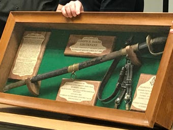 The Freemasons gifted Portage County Sheriff Joseph Baker's Civil War sword to the Sheriff's Department. Baker died in the line of duty in 1875.