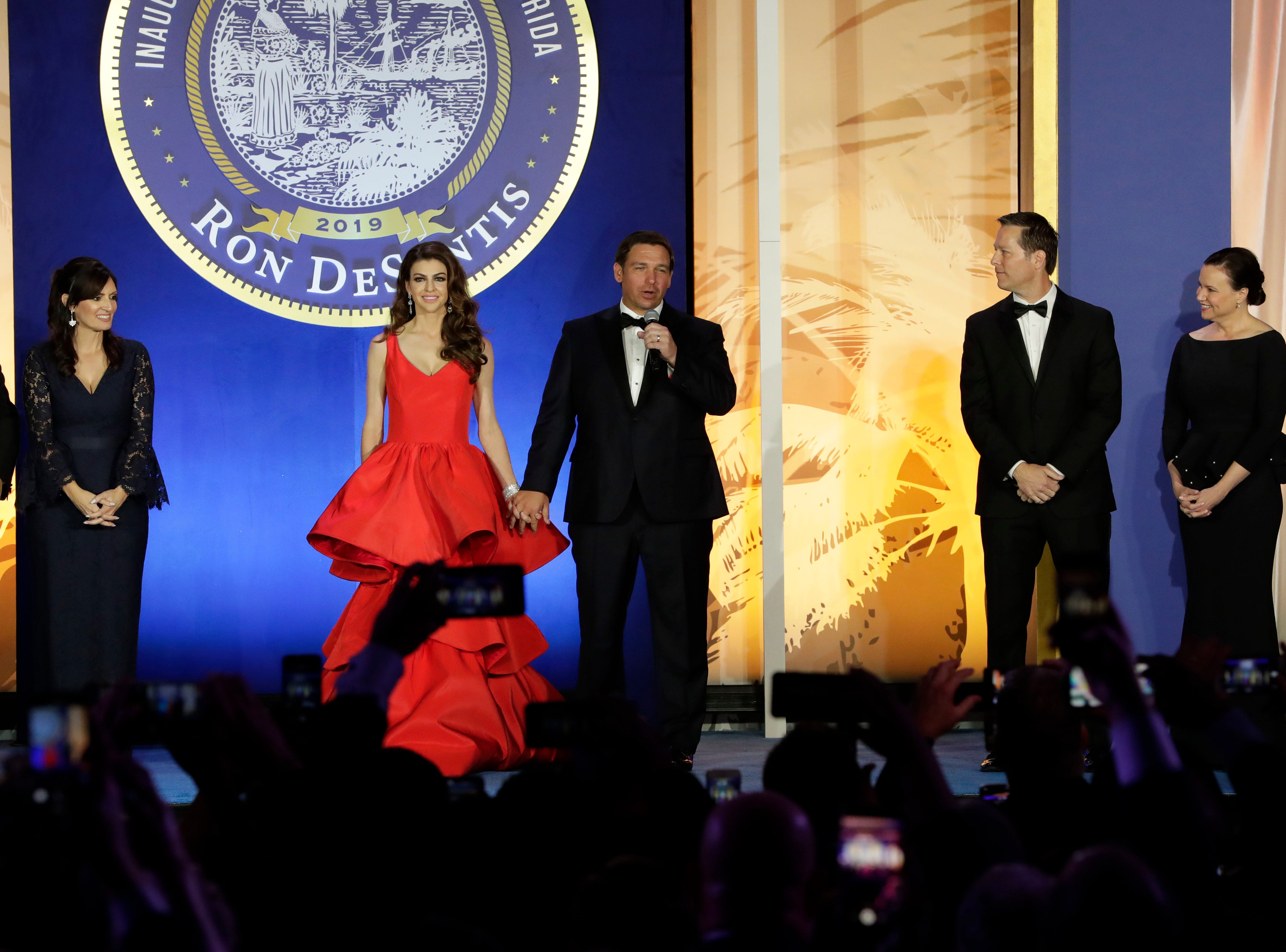 Hundreds of guests from all over Florida attend Florida's 46th Governor's Inaugural Ball at the Tucker Civic Center, Tuesday, Jan. 8, 2019. Gov. Ron DeSantis gives a few short remarks thanking everyone for attending and their support before he dances with his wife, first lady Casey DeSantis.