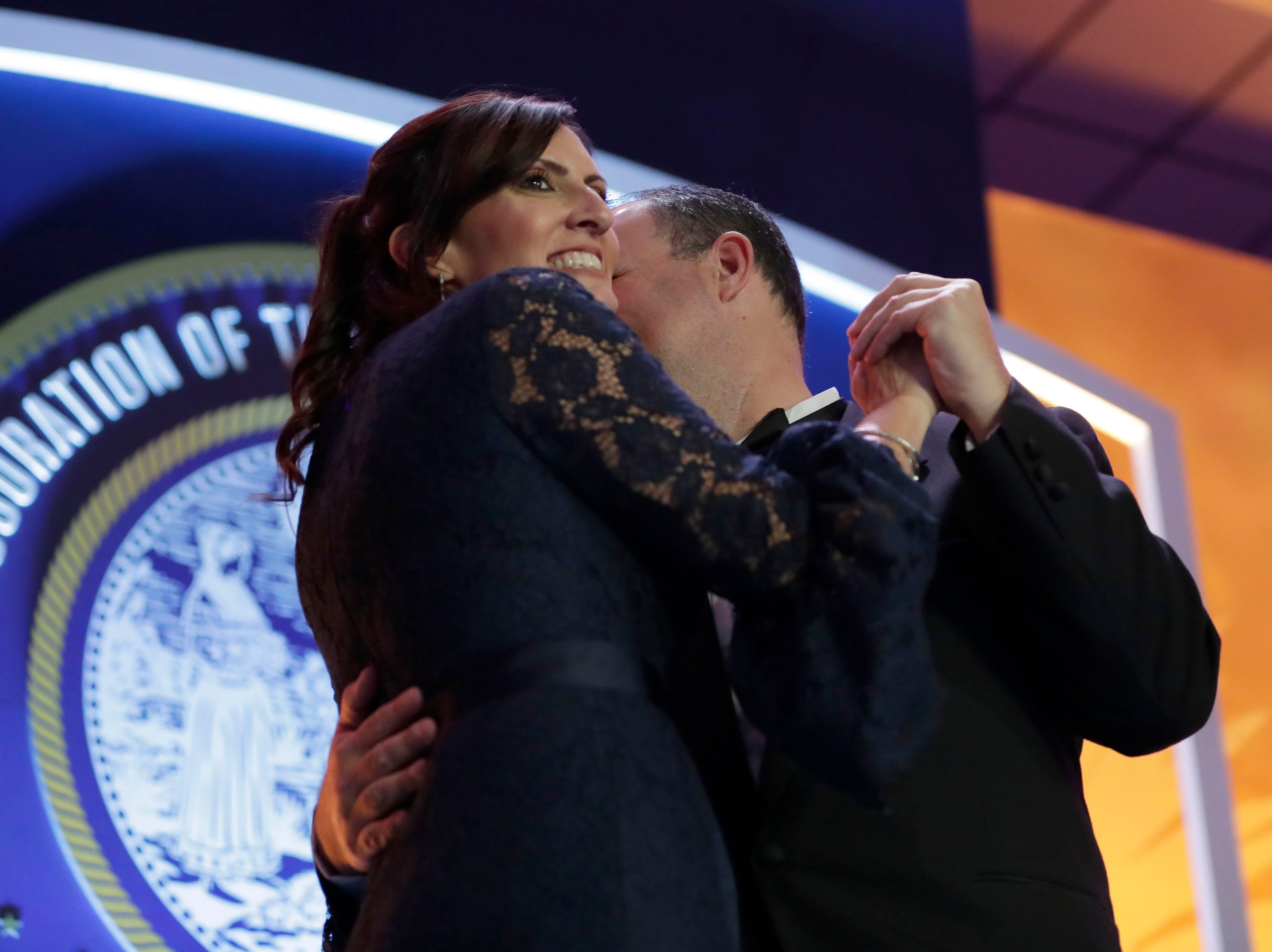Hundreds of guests from all over Florida attend Florida's 46th Governor's Inaugural Ball at the Tucker Civic Center, Tuesday, Jan. 8, 2019. Lt. Gov. Jeanette Nunez dances on stage with her husband, Adrian Nunez.