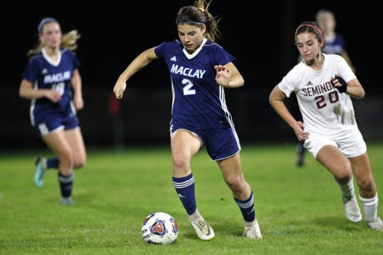 Maclay defender Nicole Macri dribbles upfield as the Marauders won 3-0 at home against Florida High on Jan. 8, 2019.