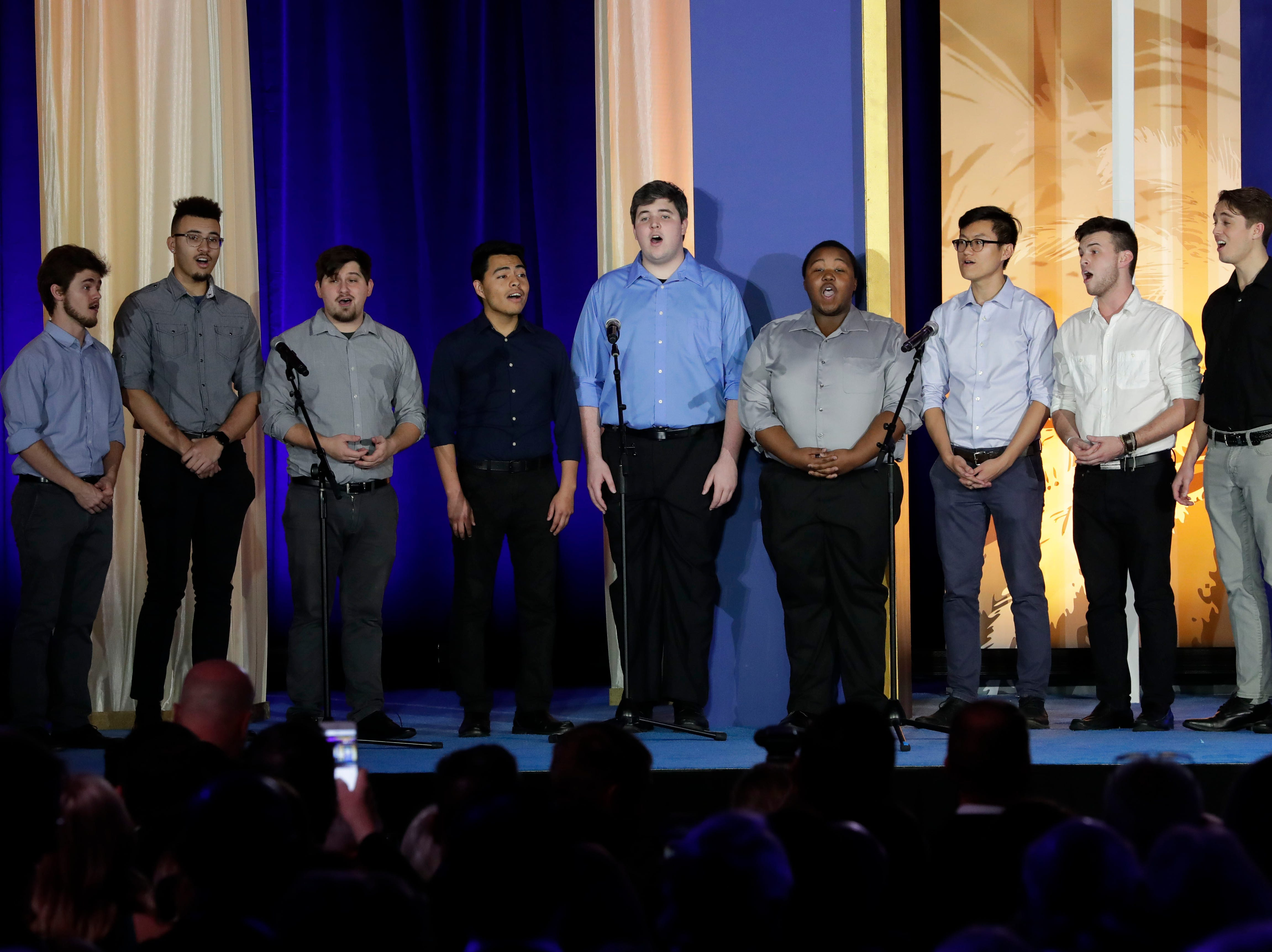 Hundreds of guests from all over Florida attend Florida's 46th Governor's Inaugural Ball at the Tucker Civic Center, Tuesday, Jan. 8, 2019. An a cappella boys group performs the national anthem.