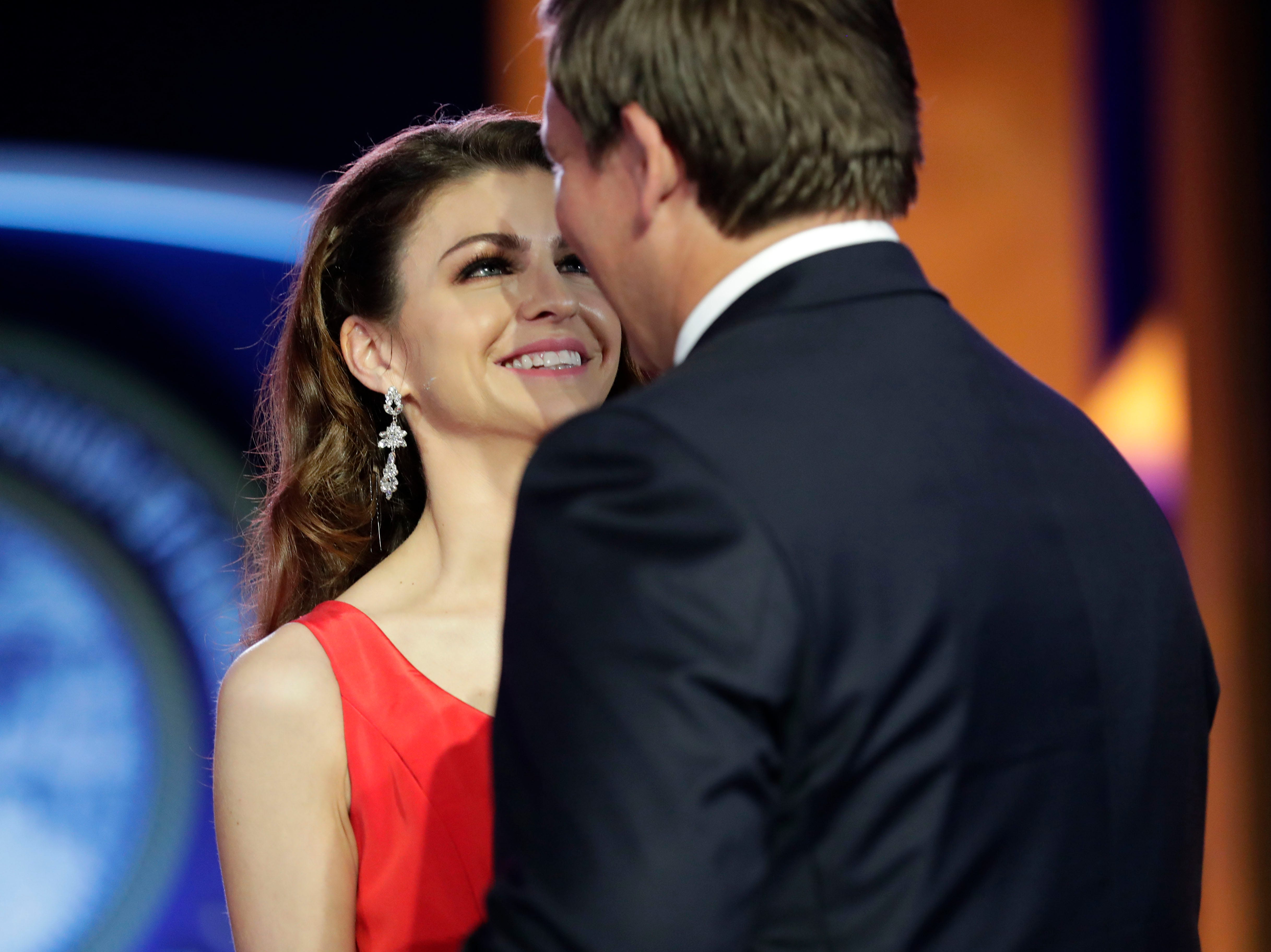 Hundreds of guests from all over Florida attend Florida's 46th Governor's Inaugural Ball at the Tucker Civic Center, Tuesday, Jan. 8, 2019. First lady Casey DeSantis gazes into Gov. Ron DeSantis's eyes as they dance.