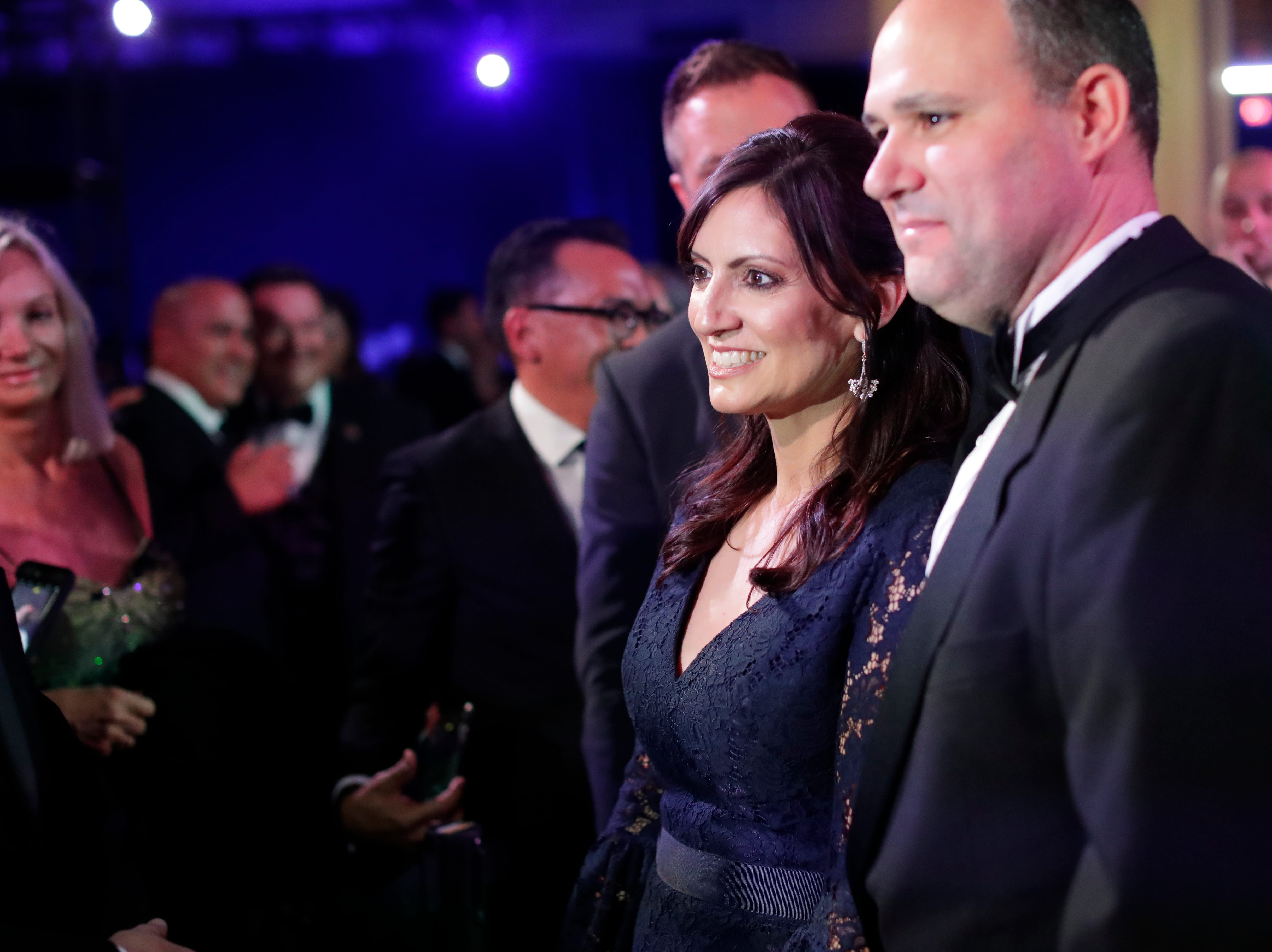 Hundreds of guests from all over Florida attend Florida's 46th Governor's Inaugural Ball at the Tucker Civic Center, Tuesday, Jan. 8, 2019. Lt. Gov. Jeanette Nunez, center, poses for a photo with her husband, Adrian Nunez, at the ball.