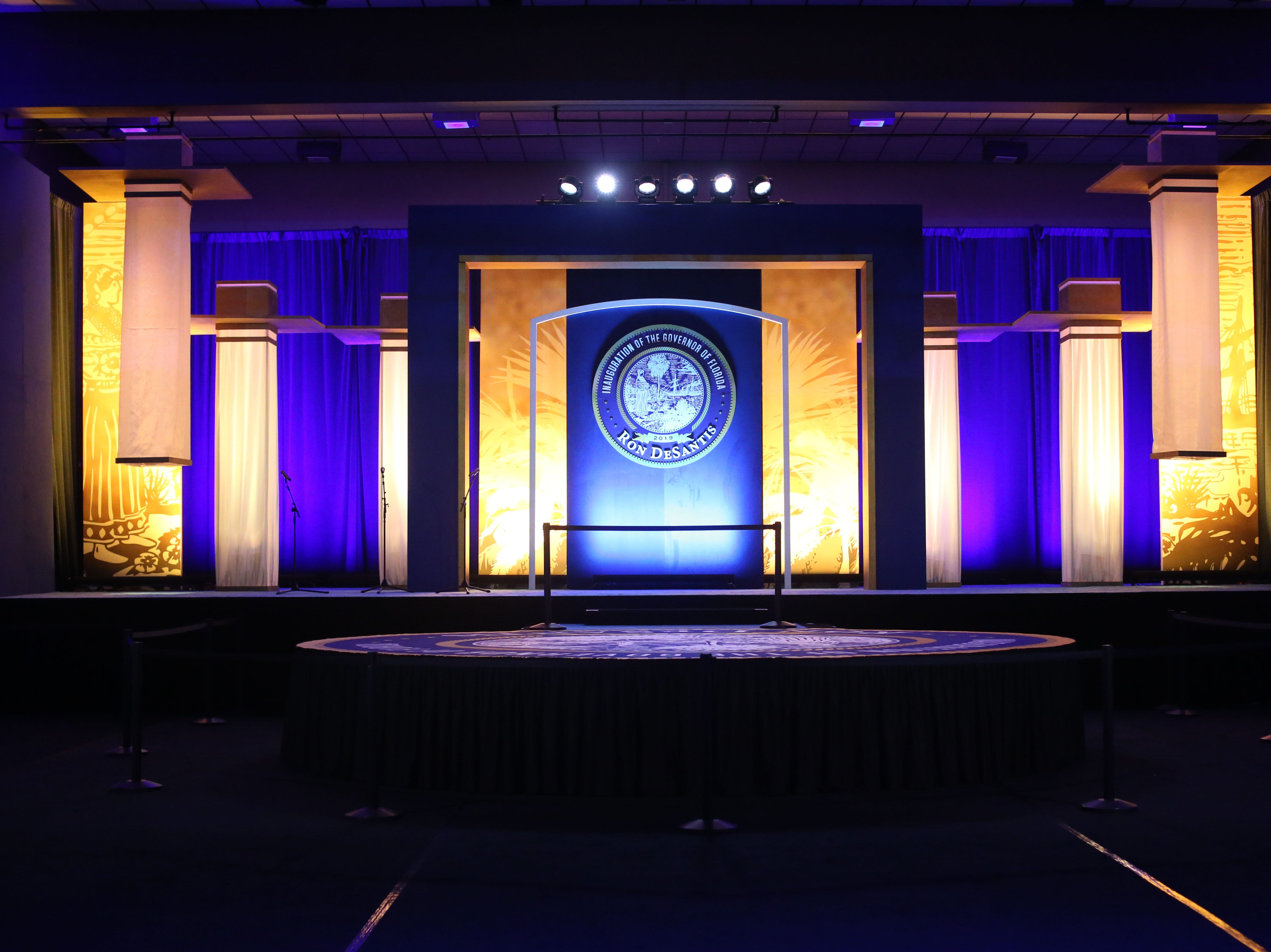 Hundreds of guests from all over Florida attend Florida's 46th Governor's Inaugural Ball at the Tucker Civic Center, Tuesday, Jan. 8, 2019. The stage before any of the guests have arrived.