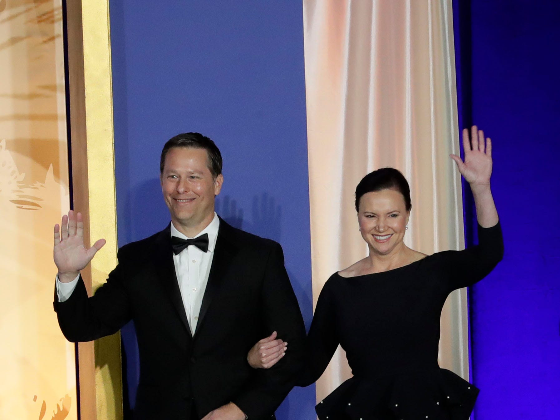 Hundreds of guests from all over Florida attend Florida's 46th Governor's Inaugural Ball at the Tucker Civic Center, Tuesday, Jan. 8, 2019. Attorney General Ashley Moody, right, waves to the crowd as she is introduced.