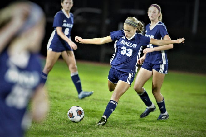 Maclay senior Colleen Donahue makes a pass downfield as the Marauders won 3-0 at home against Florida High on Jan. 8, 2019. Donahue scored her team's first goal.