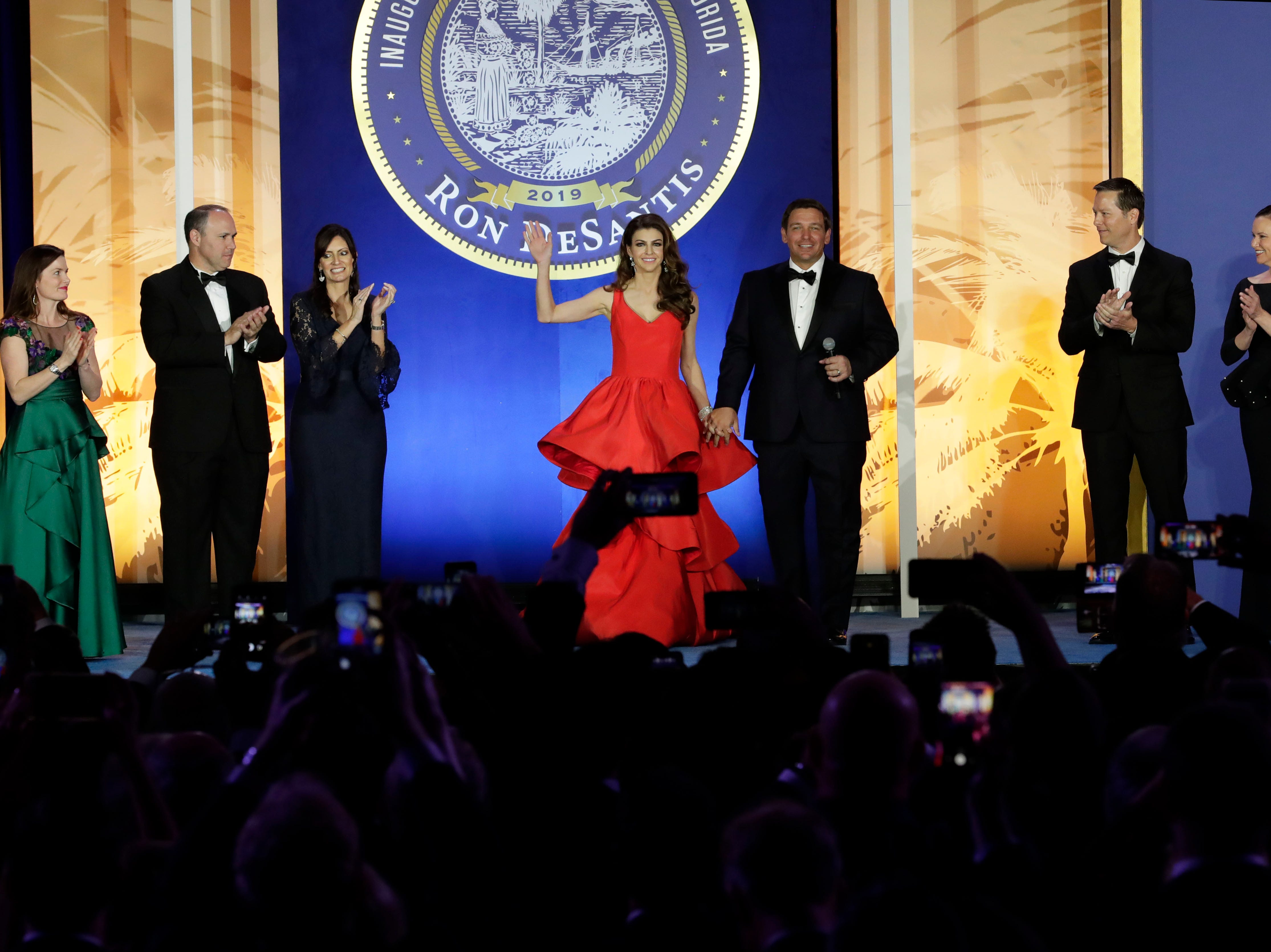 Hundreds of guests from all over Florida attend Florida's 46th Governor's Inaugural Ball at the Tucker Civic Center, Tuesday, Jan. 8, 2019. First lady Casey DeSantis, and her husband, Gov. Ron DeSantis take center stage as the are greeted by the crowd with applause.